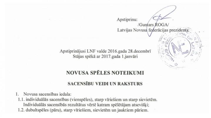 Novusa spēles noteikumi 01.01.2017.